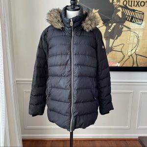 Michael Michael Kors Long Puffer Coat Jacket Fir Trim Hood Feather Down XXL